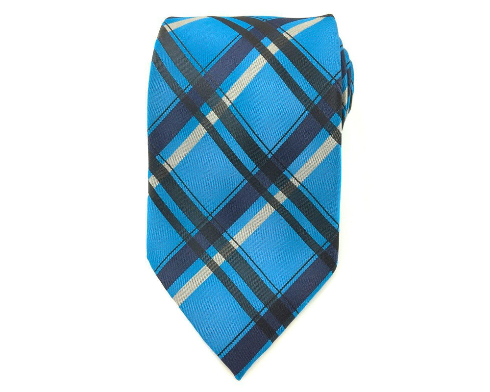 blue black check ties