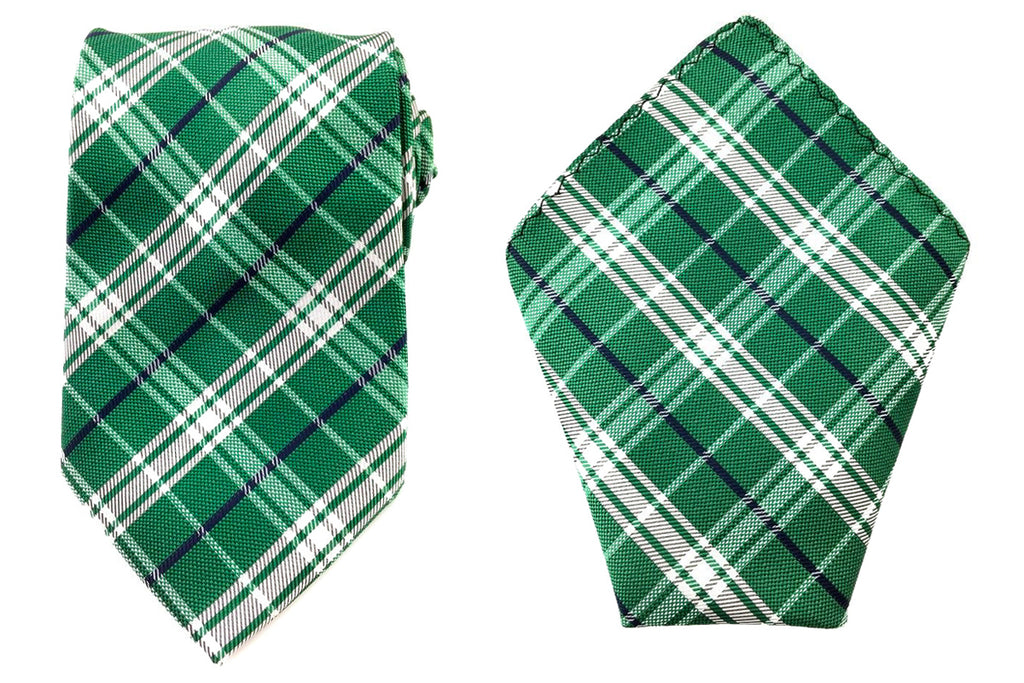green necktie pocket squares