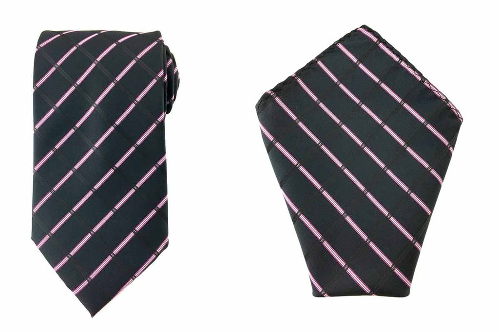 black necktie pocket square set