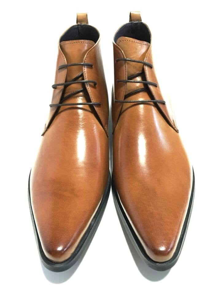 Pointed Toe Plain Derby Boots - Tan (Size 44)