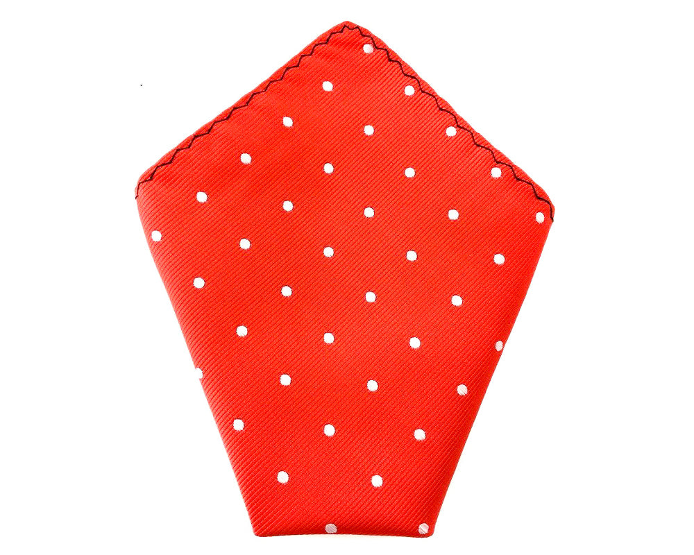 Mens Red with White Polka Dots Matching Skinny Tie & Pocket Square Set