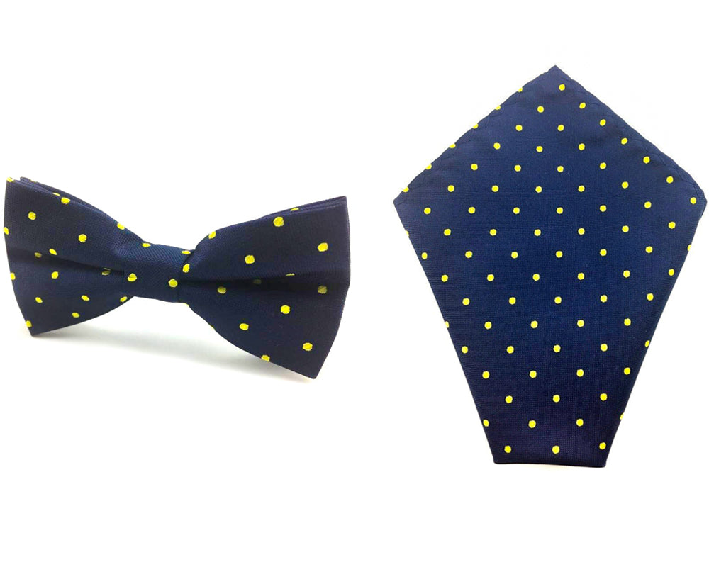 56f76f4ffb6c Mens Dark Blue With Yellow Polka Dots Bow Tie & Pocket Square Combo ...