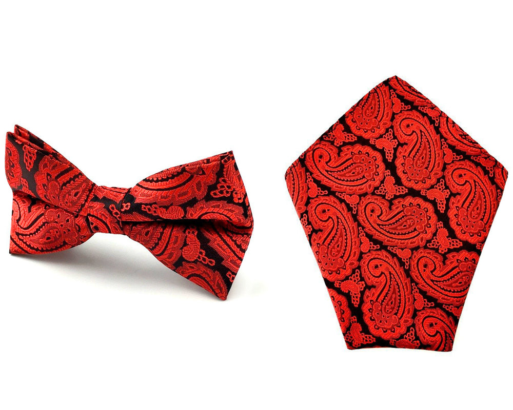 bc68fef08a44 Mens Burgundy Red Black Pattern Paisley Bow Tie & Pocket Square ...