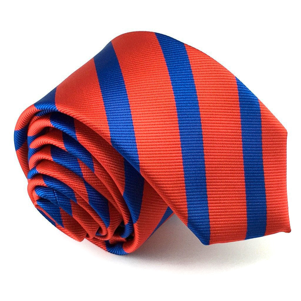 blue stripe slim neck ties