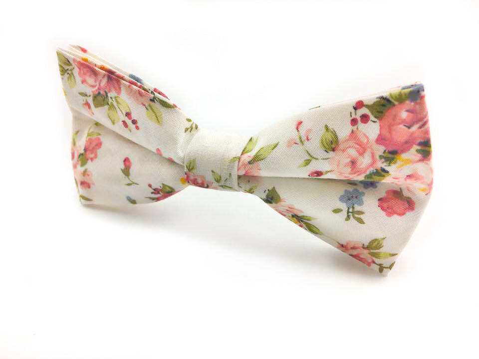 mens red floral bow tie