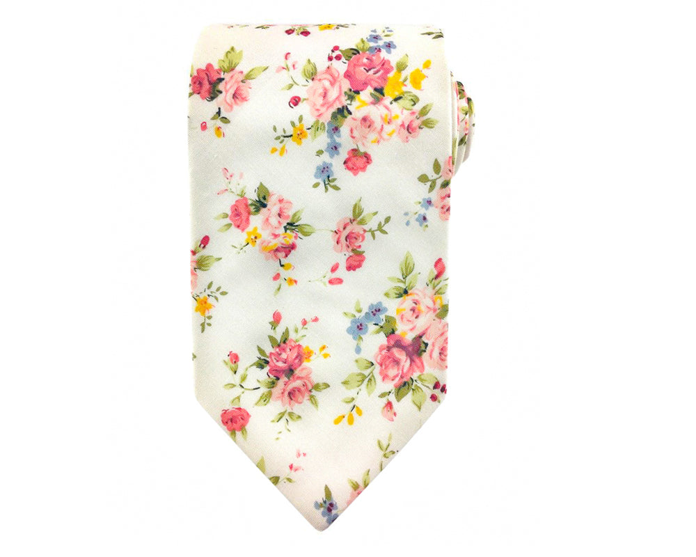 red floral mens necktie