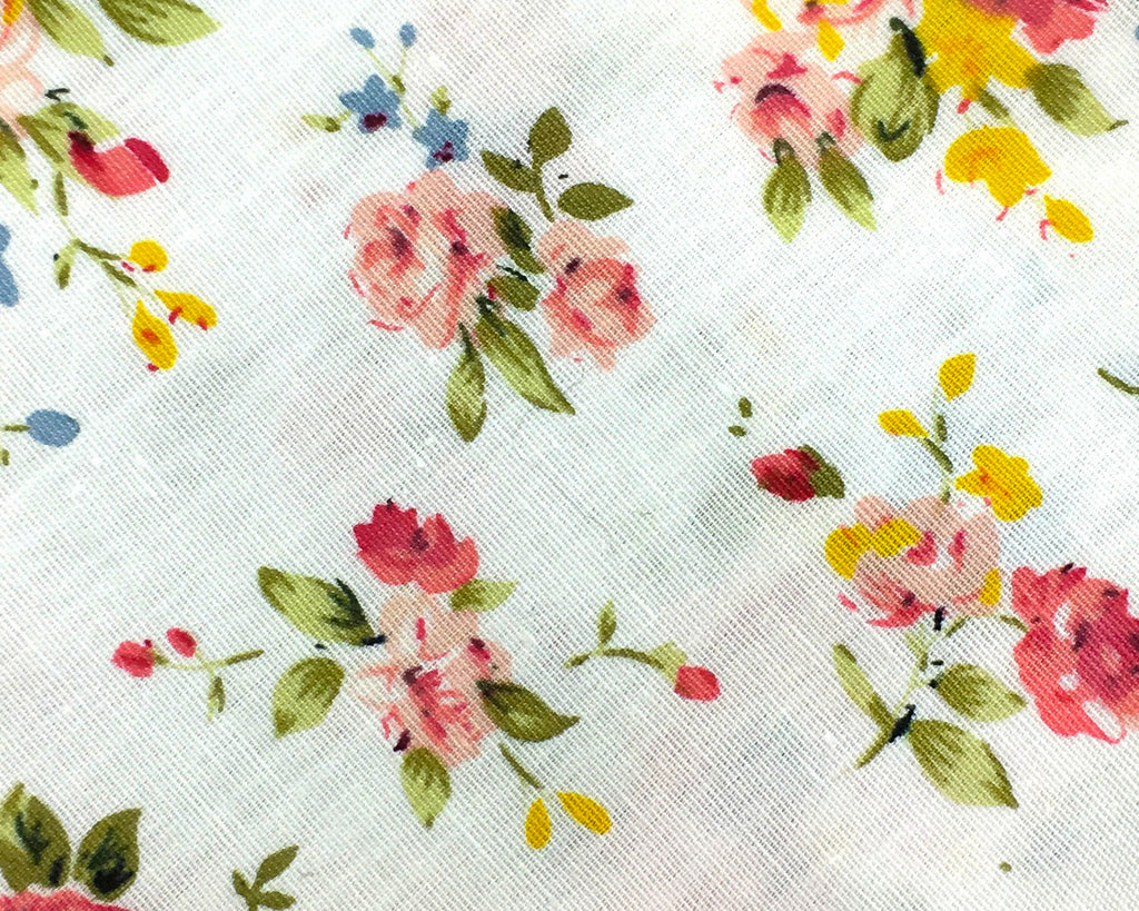 white red floral cotton swatch