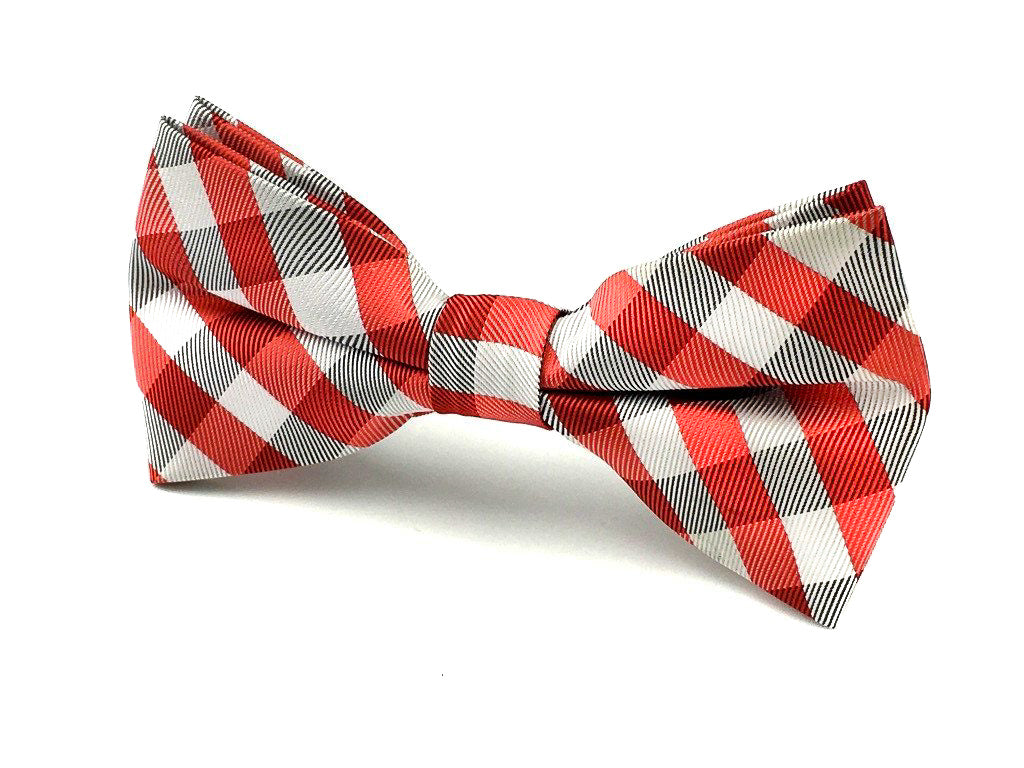 a9538137b86c Black White and Red Checkered Bow Tie | Mens Gingham Wedding Bowties ...