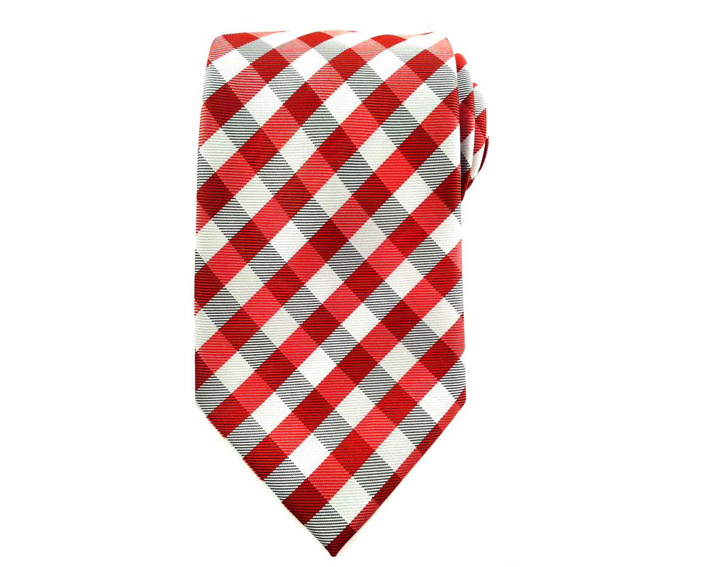 Red Black White Check Necktie