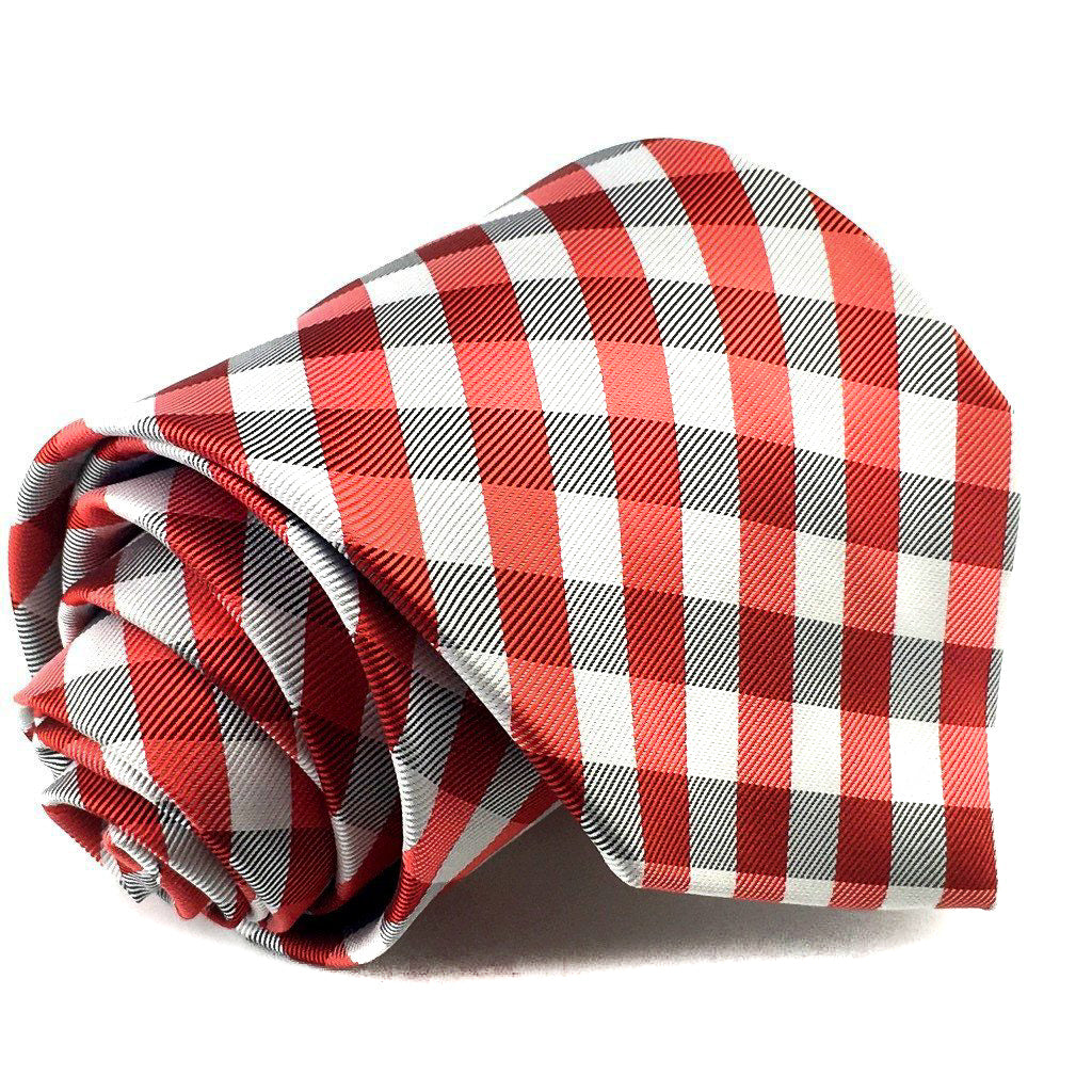 Red Black White Checkered Neck tie