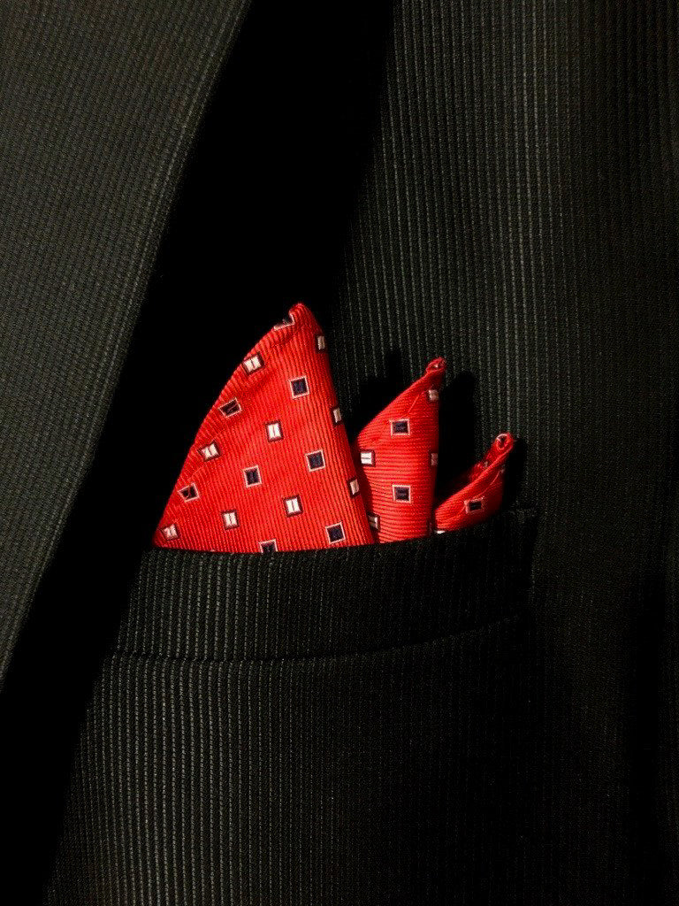 red pocket square for him