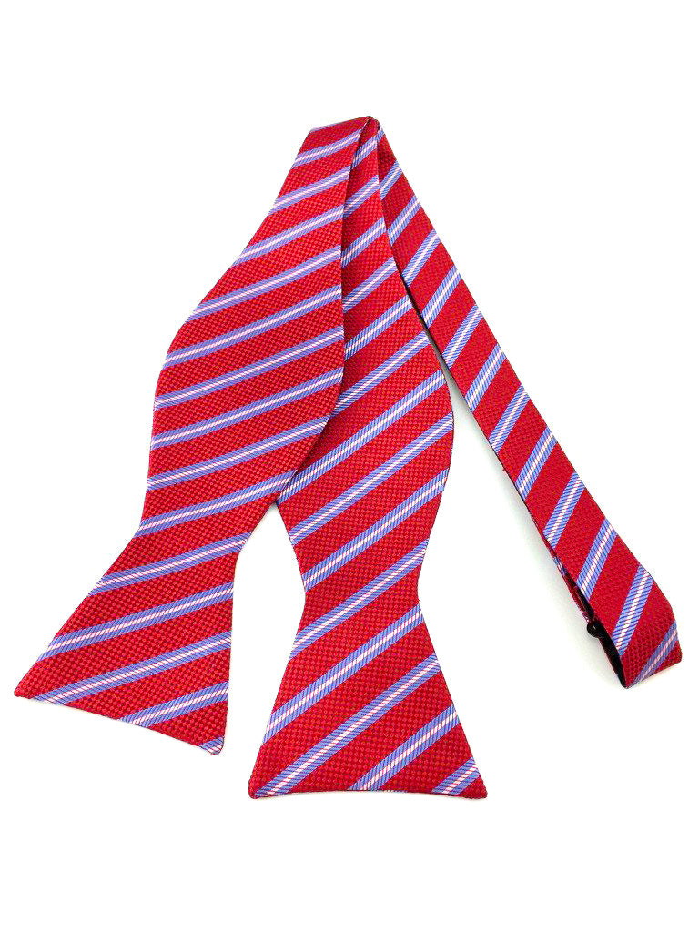 Maroon Red, Blue and Cream Striped Self-Tied Bow Tie