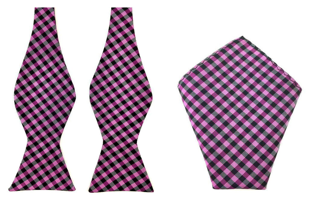 gingham self bowtie hanky
