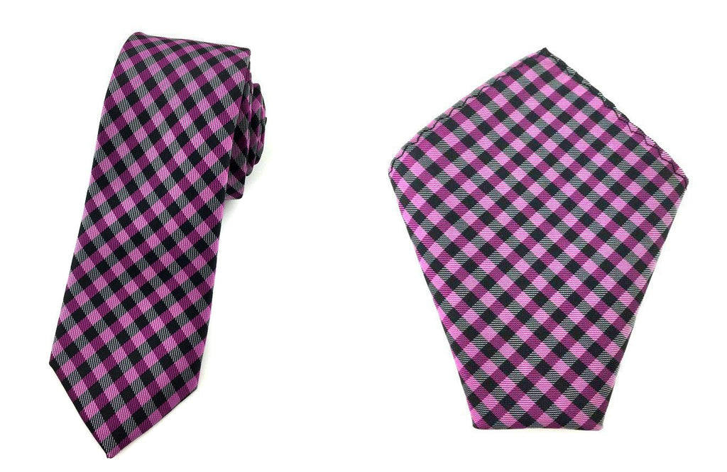 purple skinny tie pocket square