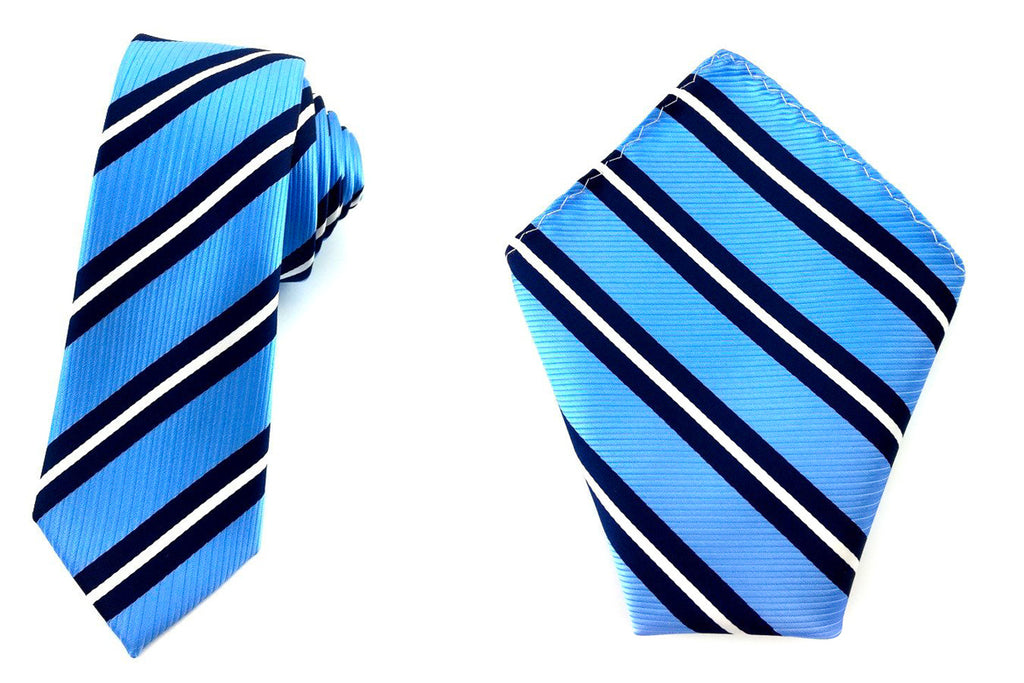 blue skinny tie pocket square