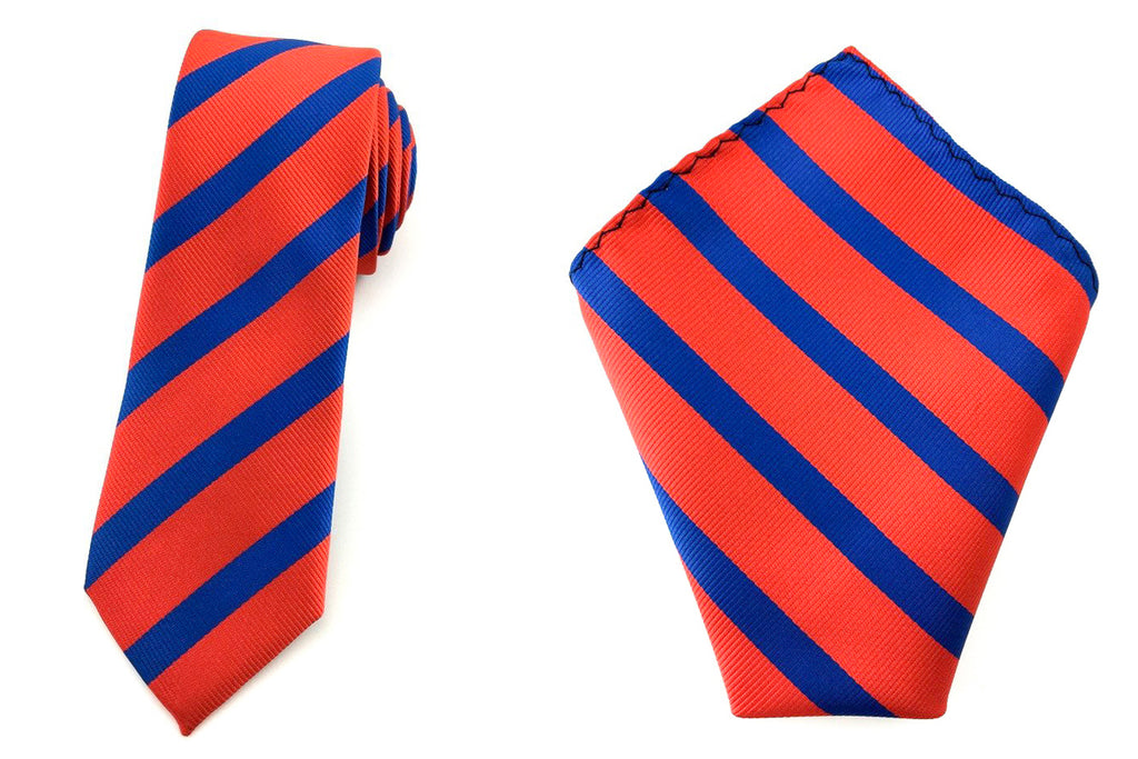 stripe slim tie hankies