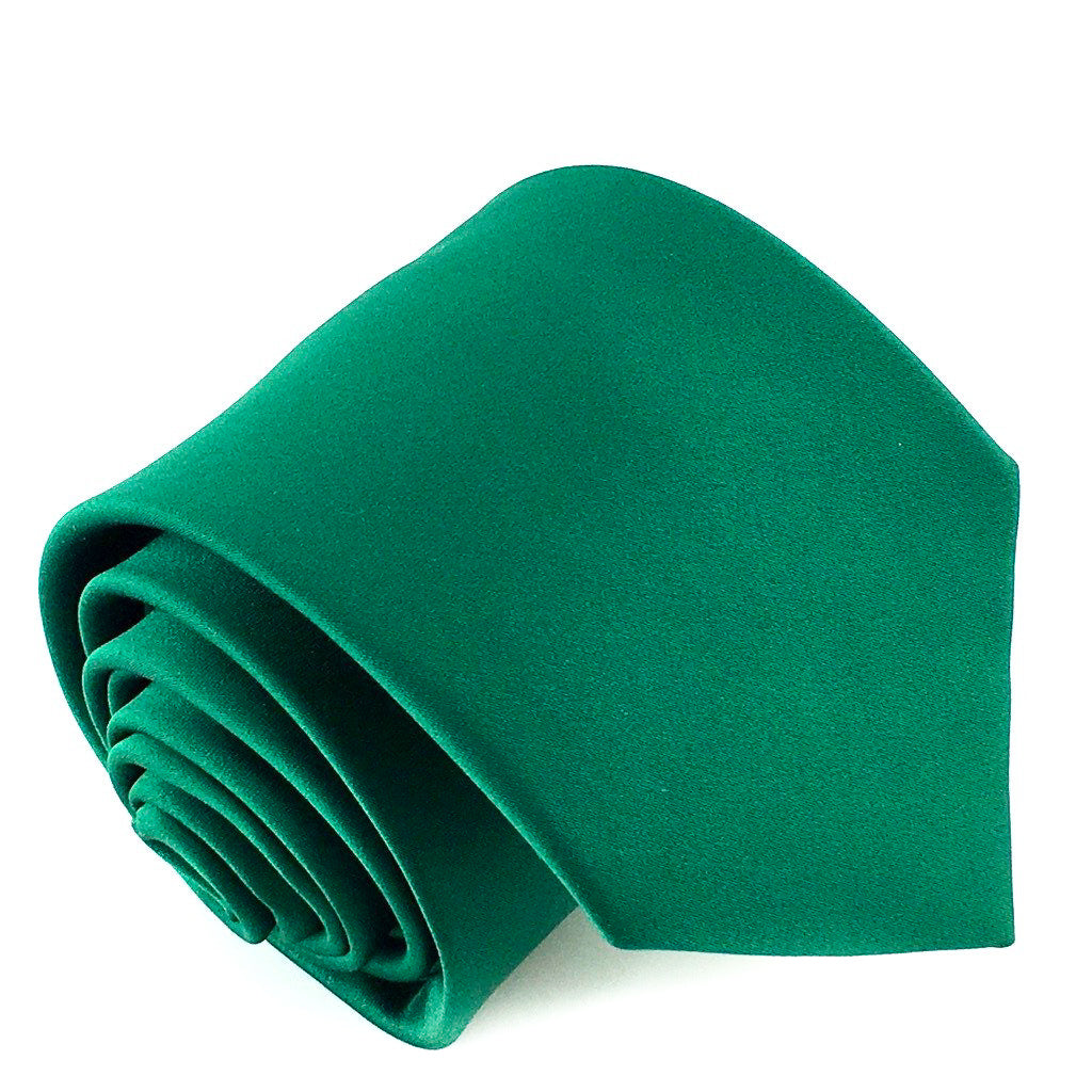 green plain neck tie