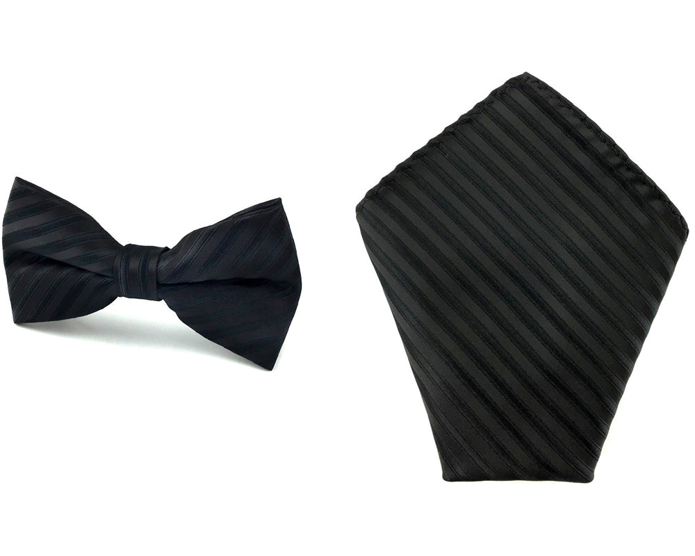 black striped bowtie hankie set