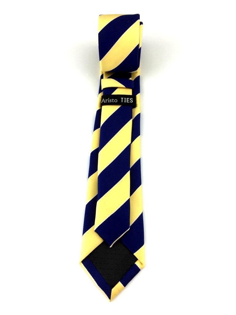 Navy Blue and Mustard Yellow Stripes Skinny Tie