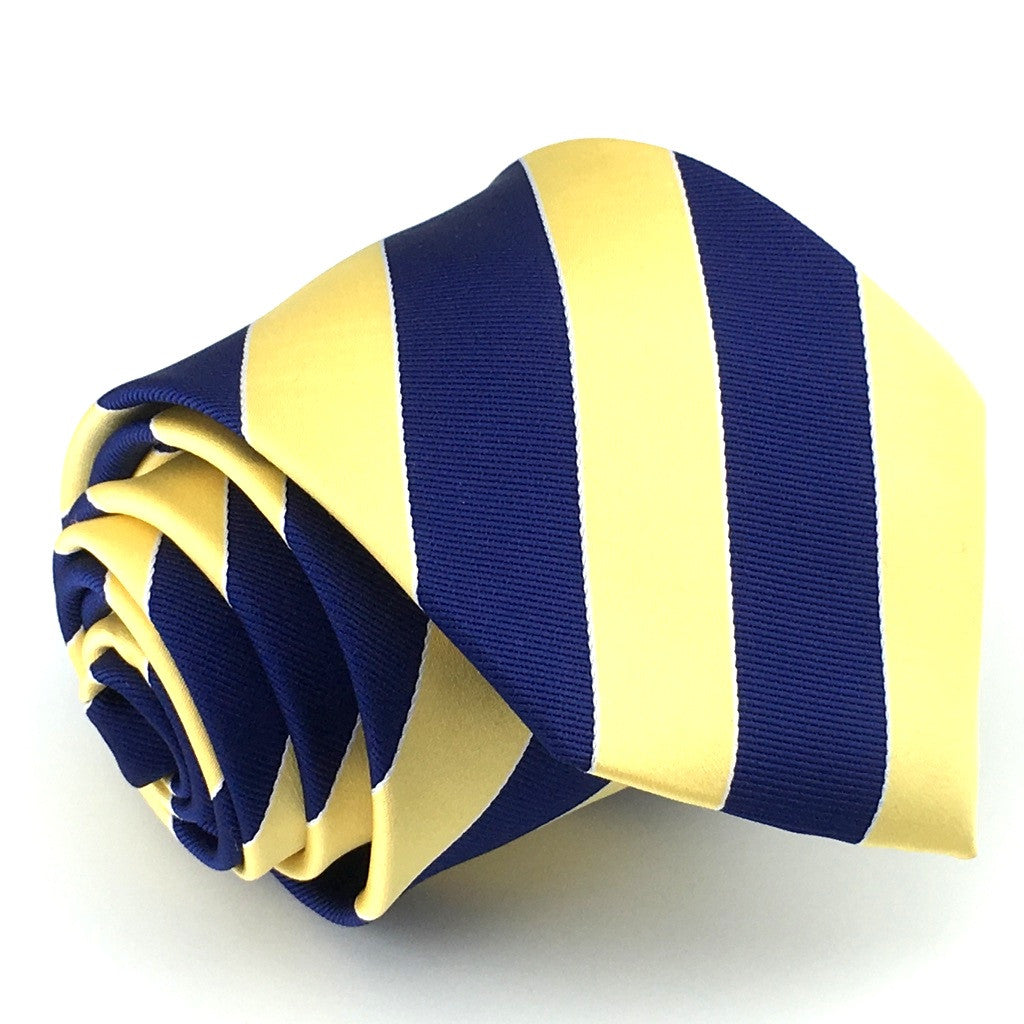 Navy Blue and Mustard Yellow Stripes Necktie