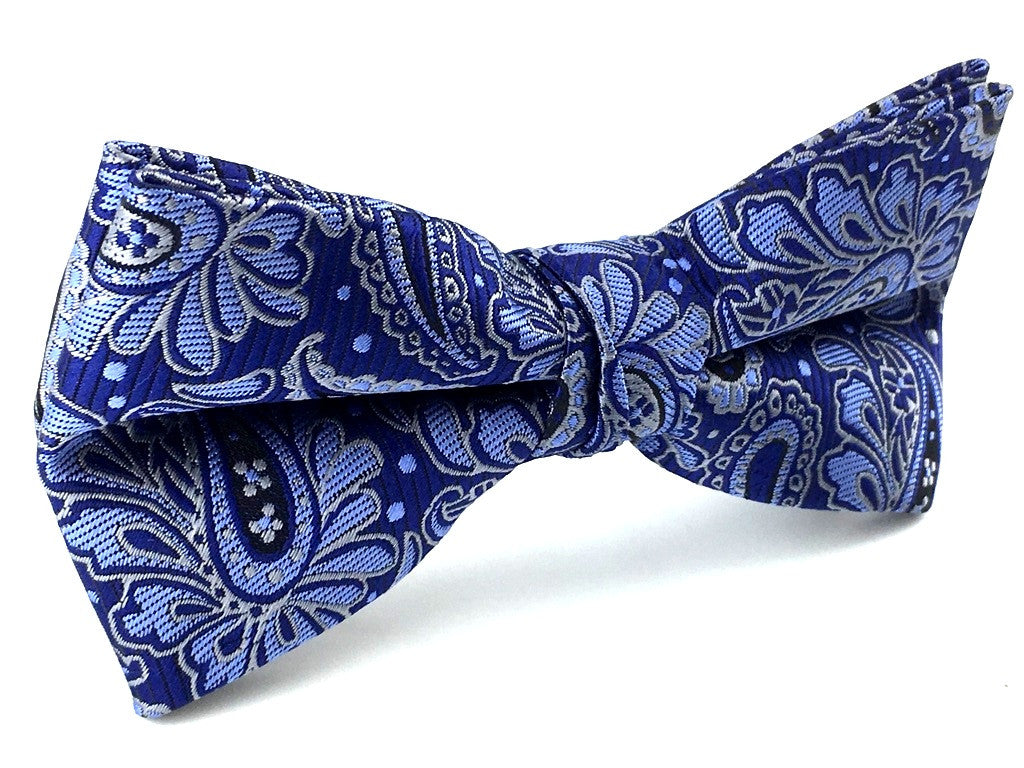 Blue Pattern Paisley Bow Tie