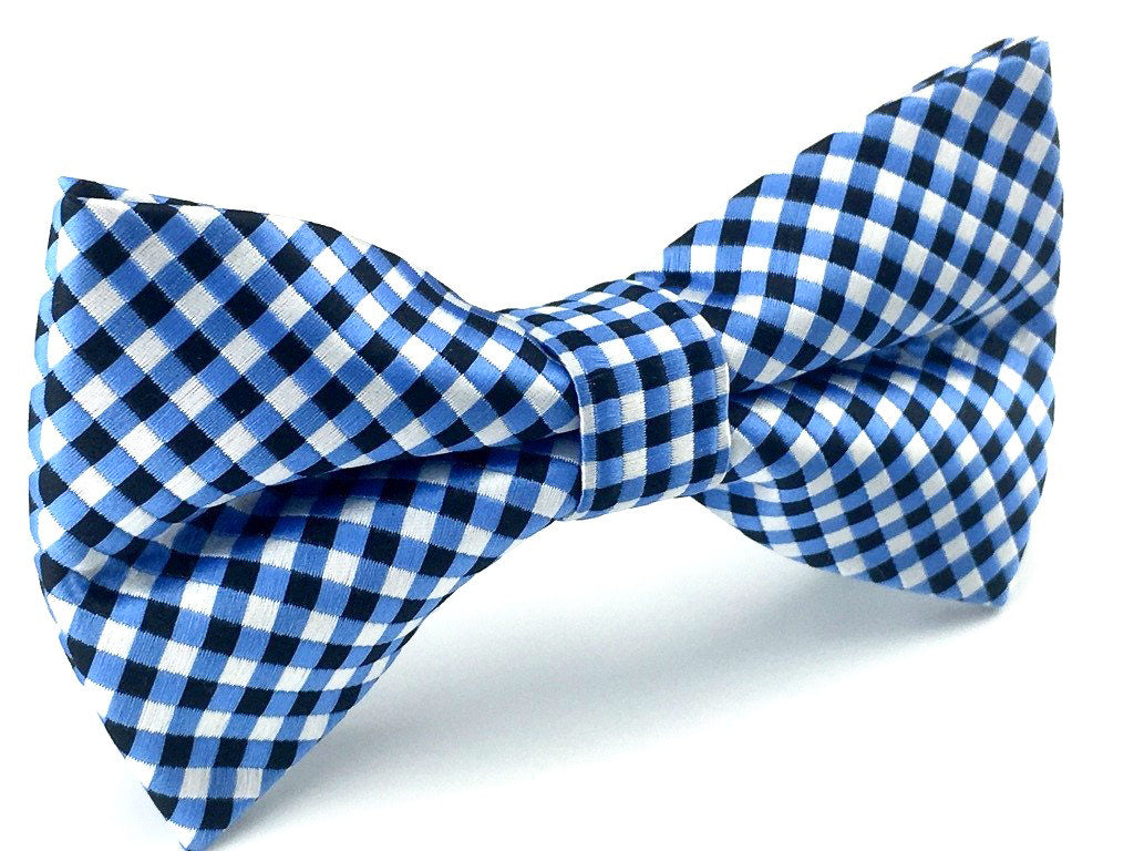 Blue Black White Checkered Bow Tie