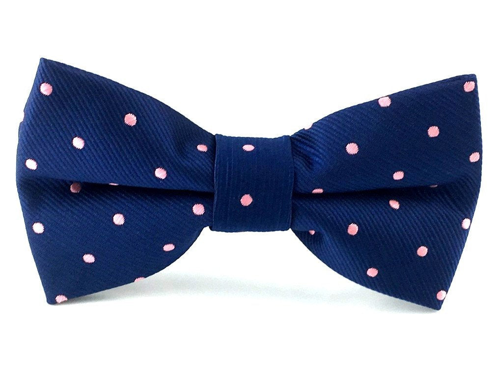 Navy Blue with Pink Polka Bow Tie & Pocket Square Combo