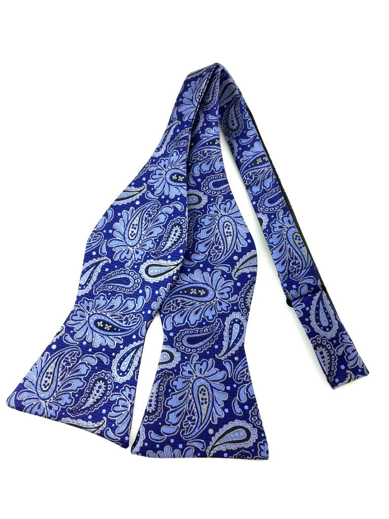Blue Pattern Paisley Self-Tied Bow Tie