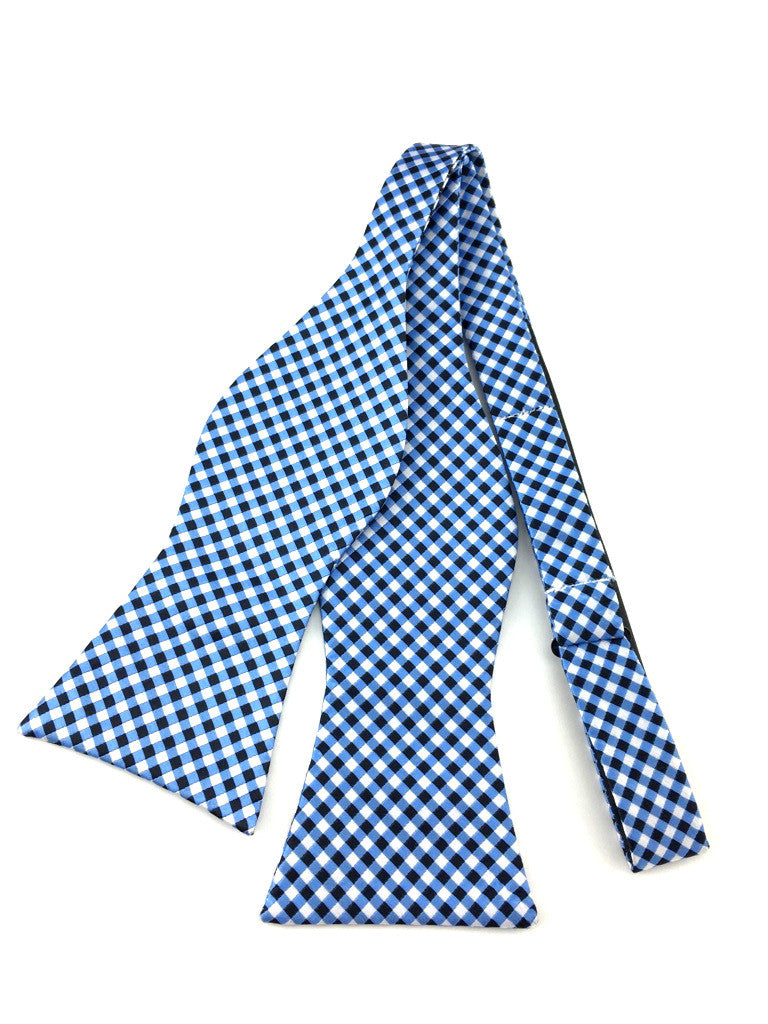 Blue Black White Checkered Self-Tied Bow Tie