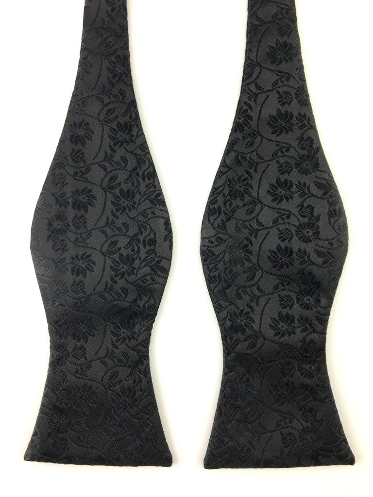 Black Pattern Paisley Self-Tied Bow Tie