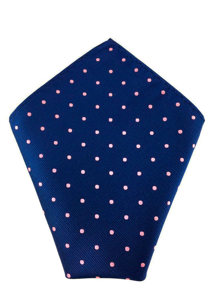 Navy Blue With Pink Polka Dots Self-Tied Bow Tie Matching Pocket Square