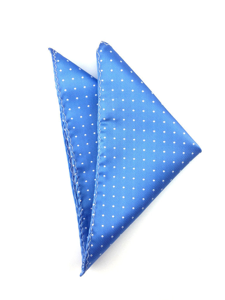 Sky Blue with Small White Polka Dots Pocket Square