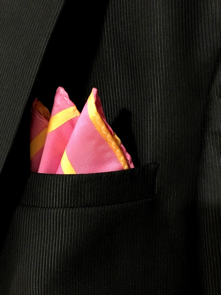 Pink with Diagonal Yellow Stripes Pocket Square