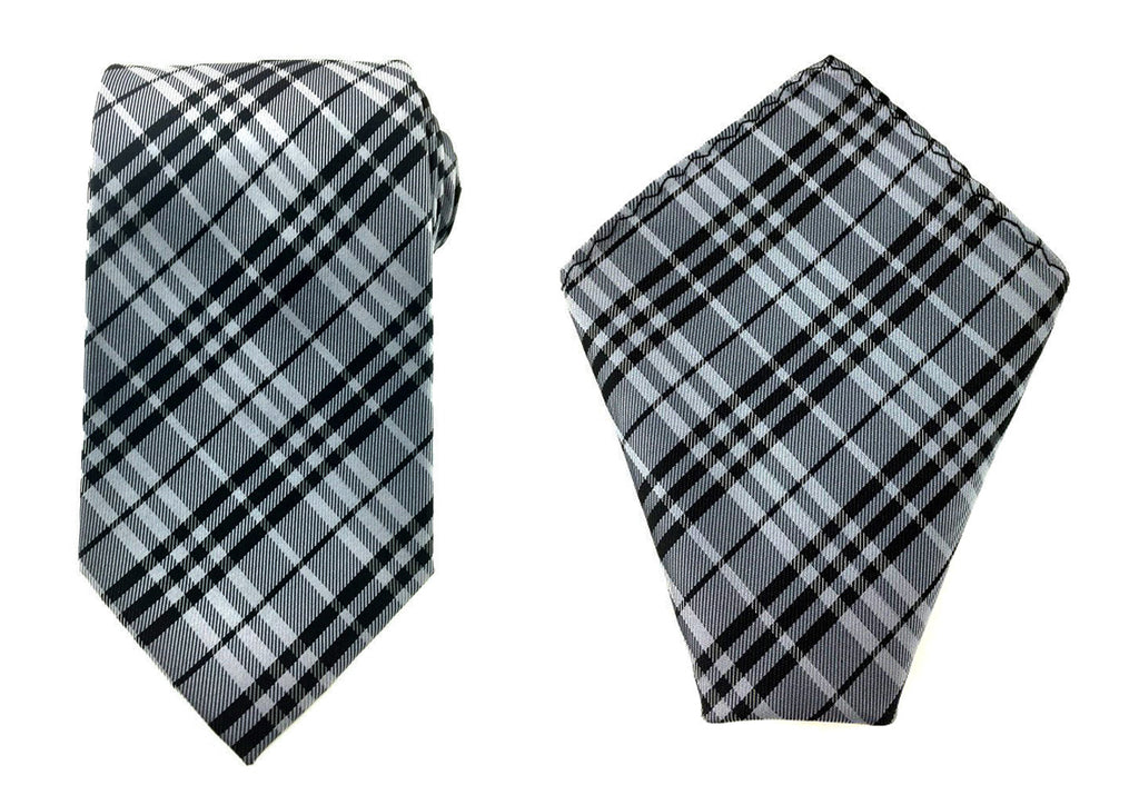 mens grey necktie pocket square