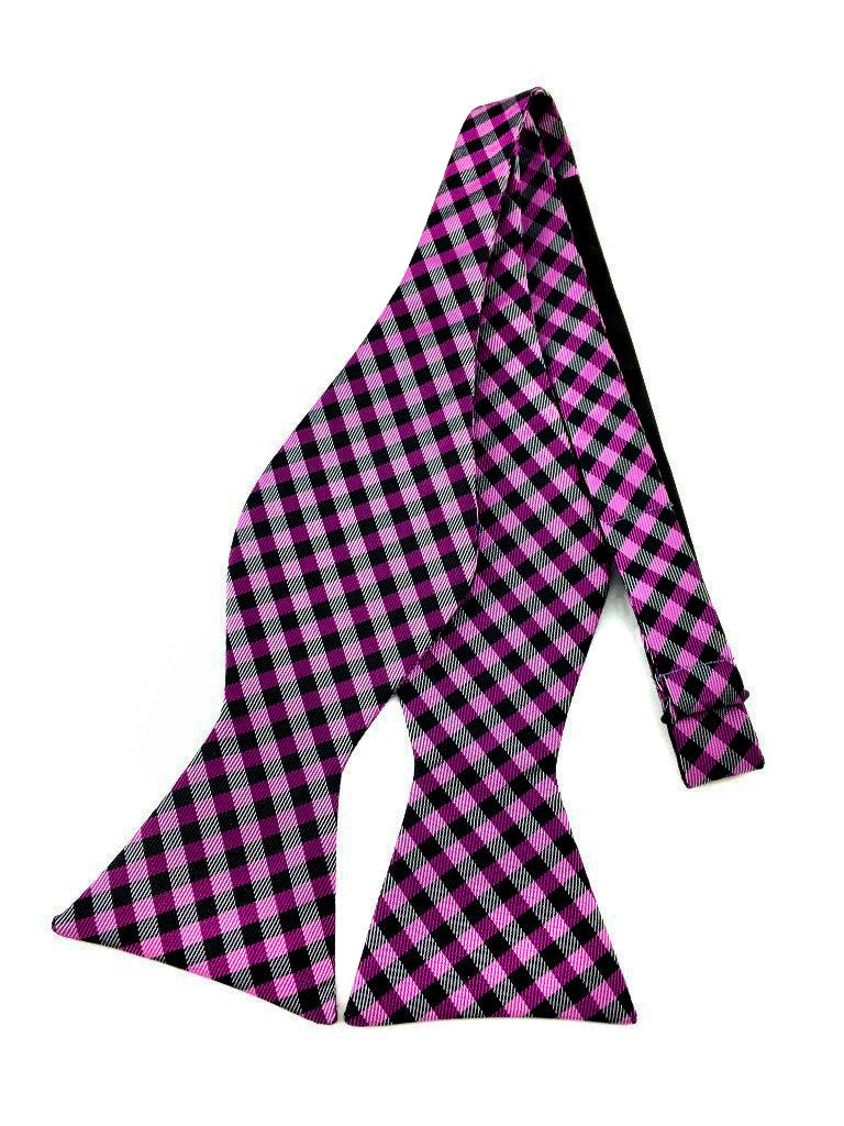 purple gingham self bow ties