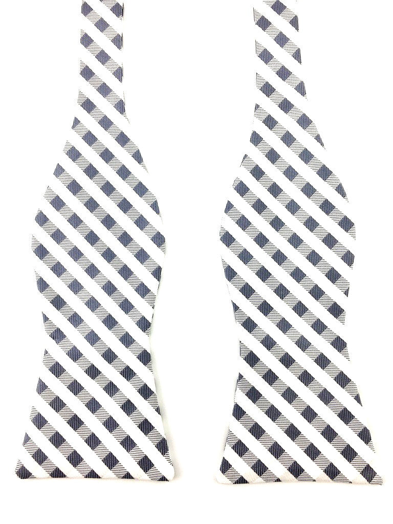 self tied checkered bowtie