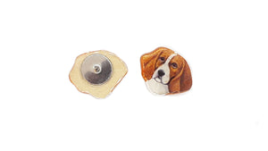 Beagle Earrings : Small Post, hand painted