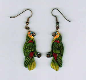 Yellow Headed Parrot.  Bright yellow and green parrots perched on a branch. Each is one of a kind, painted with fine details.