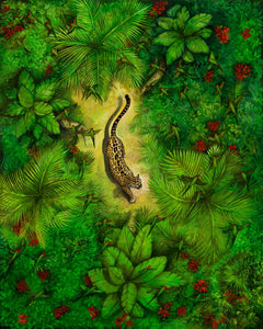 "Original Painting by Lynn Haste titled ""A Spot Above"" Depicts a Jaguar walking through the jungle with 42 parrots flying over his head."