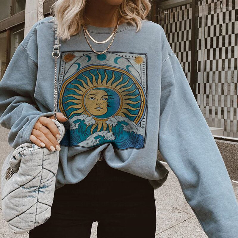 Vintage Casual Long-sleeved Printed Sweatshirt