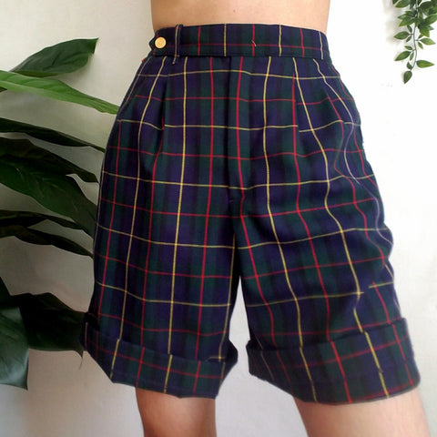 Retro Dark Blue Plaid Casual Shorts
