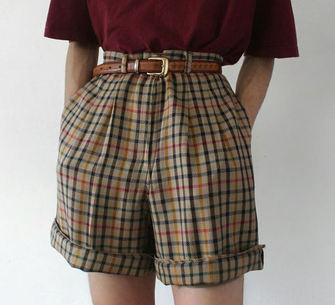 Retro Style Plaid Shorts