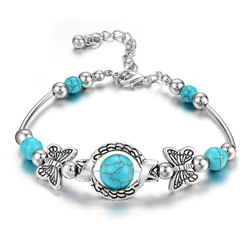 Fashion Natural Turquoise Butterfly Beaded Bracelet