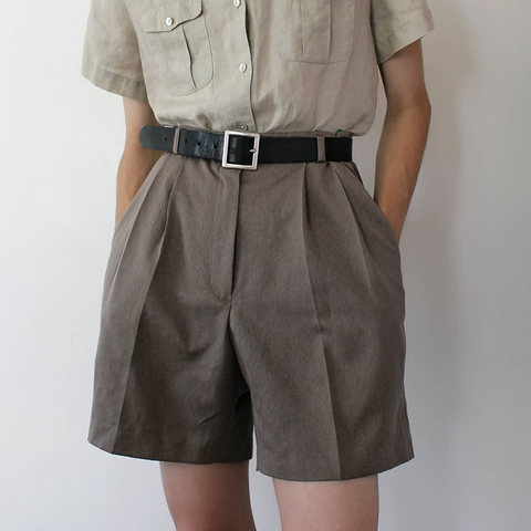 Retro Casual Cotton And Linen Gray Shorts