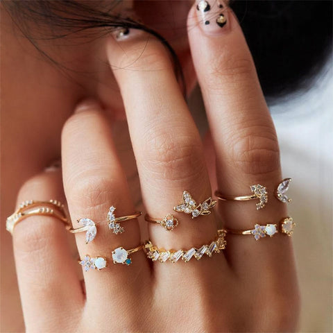 Butterfly Flower 7-piece Crystal Ring Set