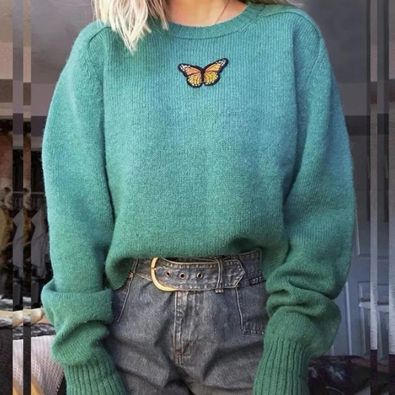 Butterfly Embroidery Sweater