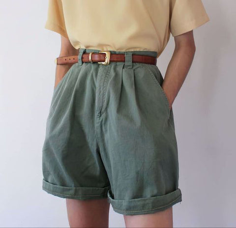 Retro Solid Color Shorts