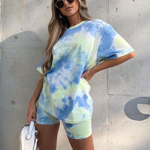 Shoot For The Sky Tie-dye Shorts Set