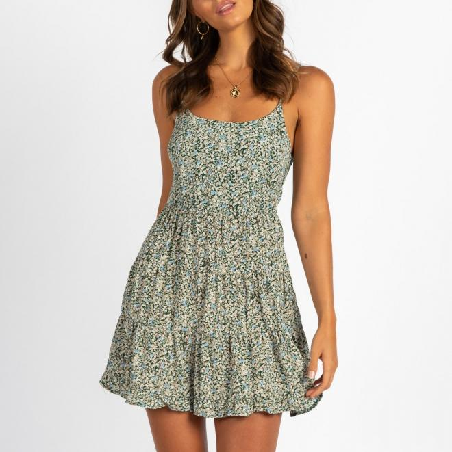 Printed Strap Panel Casual Vacation Dress