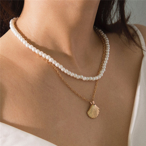 Vintage Beaded Shell Double Necklace